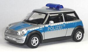 Nuevo-maqueta-de-coche-mini-cooper-policia-uso-vehiculo-aprox-1-38-articulo-nuevo-de-Welly