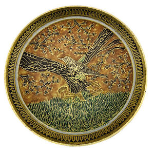 "Enameled Artistic Raised Bird Finch Design Metal Solid Brass Bowl Enesco 7 3/8""."