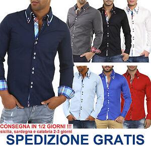 Elegante-Camicia-Moda-Uomo-a-Maniche-Lunghe-Avvitata-Doppio-Colletto-Button-Down