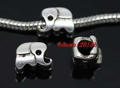 10pcs Tibetan Silver big hole elephant beads Fit Charm Bracelet (Lead Free)