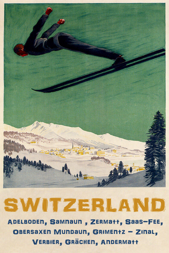 MAN DOWNHILL SKIING SKI JUMPING SWITZERLAND ZERMATT VERBIER VINTAGE POSTER REPRO