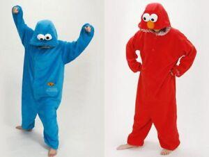 4e0221ec4756 Adult sesame street cookie monster blue red Elmo costume pajamas ...