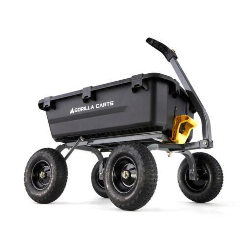 4-wheeled 1200 lb Gorilla Carts Poly Yard Dump Cart 7 cu Weight Capacity ft