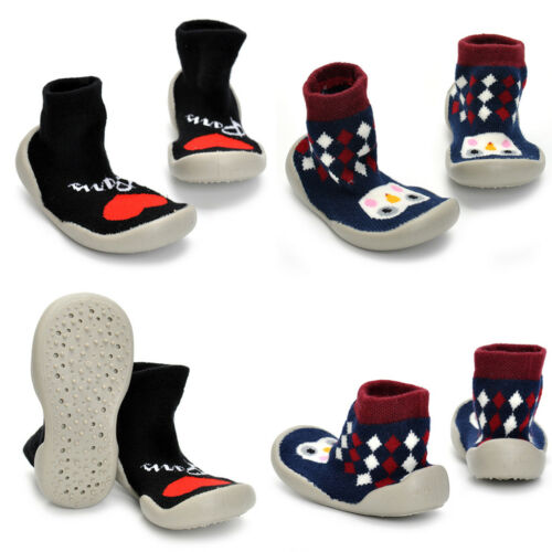 Kids Girls Love Penguin Pattern Anti-slip Rubber First Walking Sock Shoes
