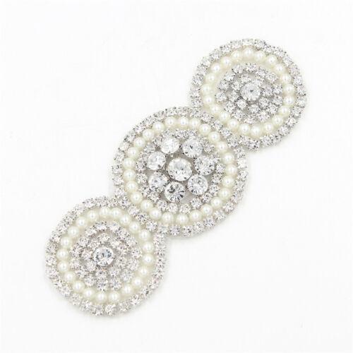 Round Beaded Pearl Crystal Rhinestone Applique for Wedding Dress Belt Sash Trims