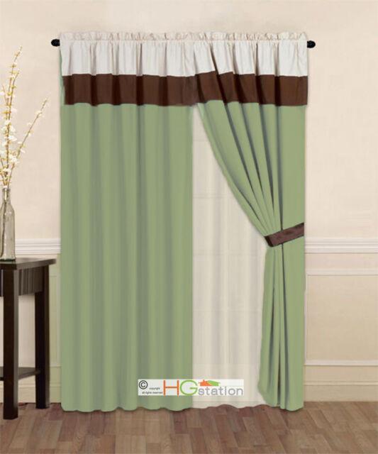 surprising Sage Green Window Valance Part - 11: 4-Pc Striped Solid Modern Curtain Set Sage Green Brown Beige Valance Liner  Drape
