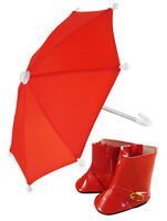 Red Umbrella & Rainboots For 18 American Girl Doll Clothes Perfect For Molly