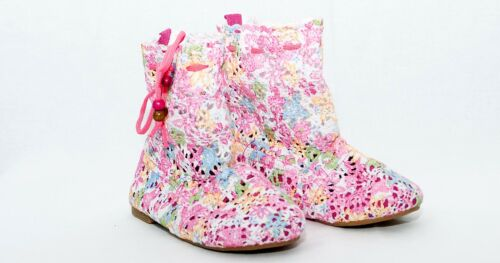 Girls Material Boots Summer  Pull on Knitted Fabric  11.5-2.5 UK 30-35 EUR