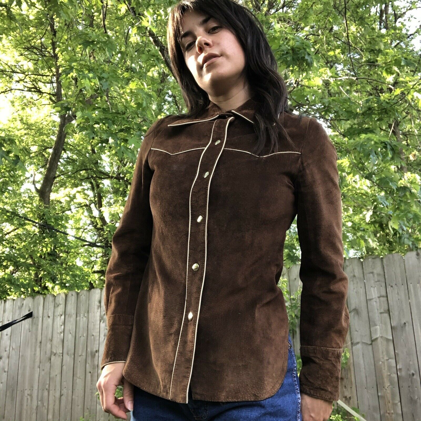 Vtg Brown Suede Roncelli Button Up Size 7 - image 1