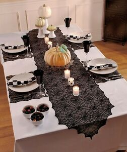 5Pc Spiderweb Lace Table Linen Set Black Scroll Cutout Table Runner