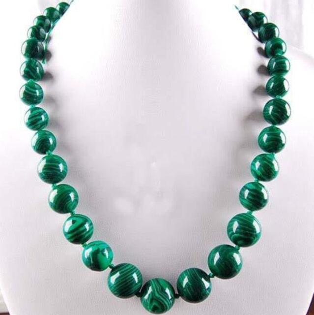 "6-14mm Green Gorgouese Malachite Gem Round Beads Necklace 18"""