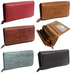 Damen Echt-Leder Geldbörse mit RFID-Schutz Portemonnaie Geldbeutel für Frauen