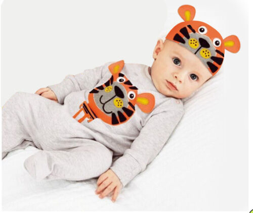 Kids Baby Boy Girl Long Sleeve Animal Rompers Jumpsuits Hat  Outfits Clothes Set