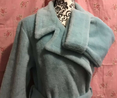 Vintage Baby Blue Fuzzy Deep Pile Plush Housecoat