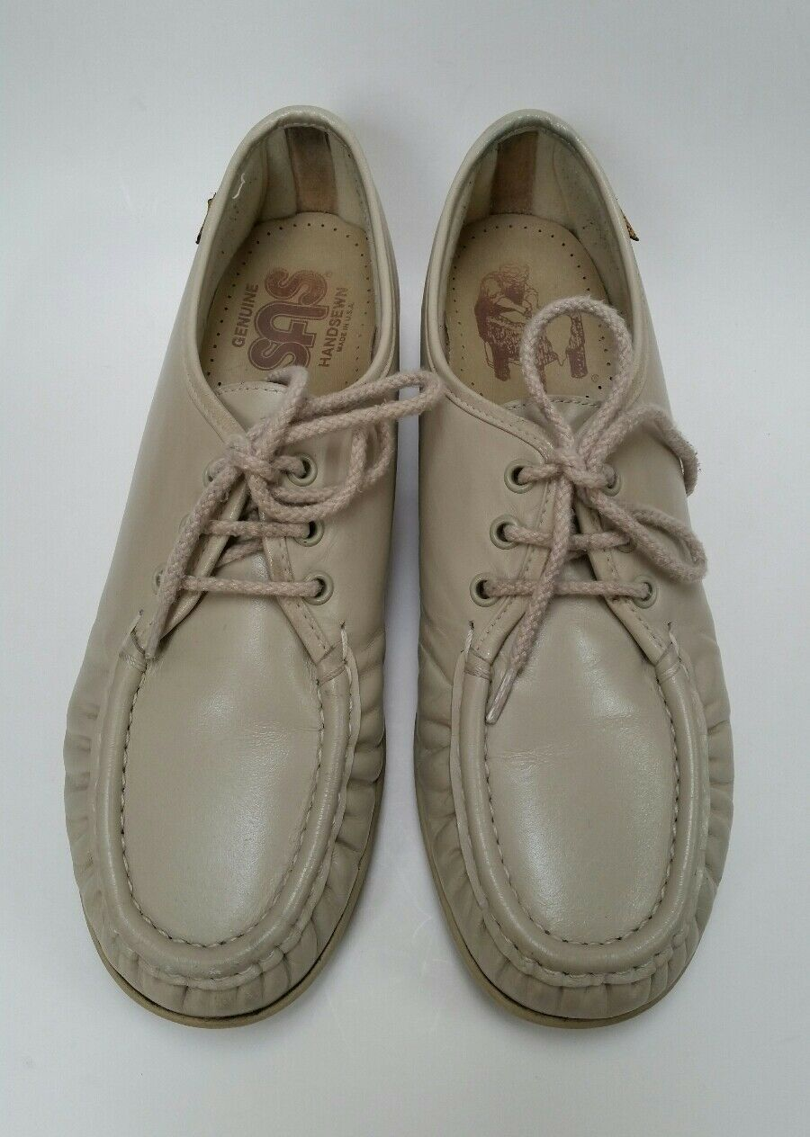 SAS Schuhes Hand Sewn Soft Step Heel Lace Up Wedge Oxfords Beige Damenschuhe Größe 8.5 N