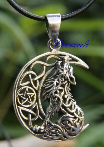Amulett Wolf Auf Mond Mit Pentagramm Anhänger Aus 925er Sterling Inkl. Band Aromatischer Geschmack