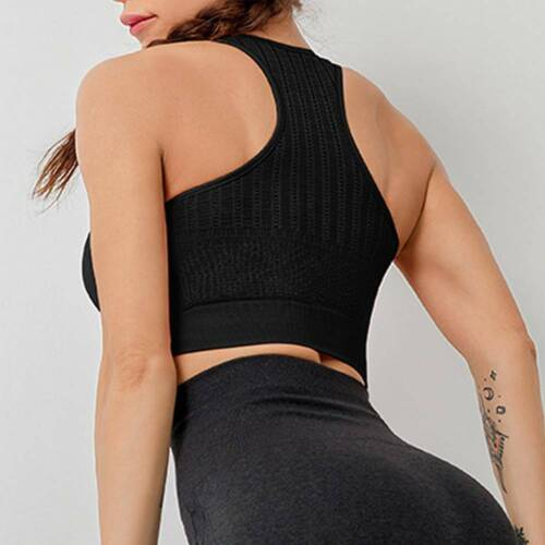 Women Seamless High Impact Sports Bra Fits Fashion Yoga Crop Top Stretch Vest UK