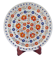 """12"""" White Marble Round Dish Plate Mosaic Inlay Hakik Gem Table Decor Gifts H2764"""