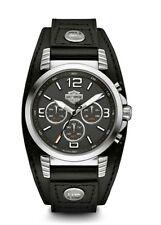 Harley-Davidson® Bulova Men's Chronorgraph Leather Cuff Steel Wrist Watch 76B173