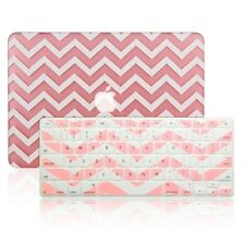 "Matte Chevron Pink Hard Case + Keyboard Cover for Macbook Pro 15"" Retina A1398"