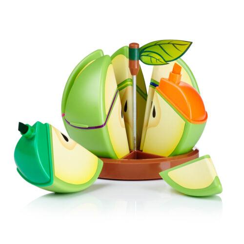 Set of 6 Funky Fruity Highlighters Office School Apple Shape Apple Smell