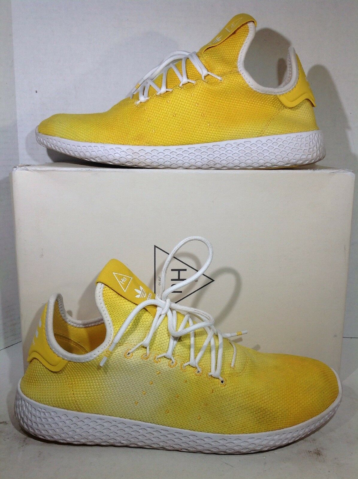 Adidas Mens Size 10.5 PW Hu Holi Yellow Athletic Tennis shoes Sneakers ZX-869