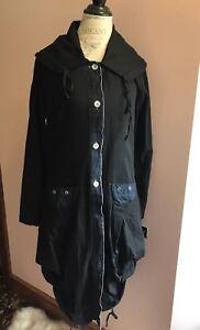 ANIMALE-FRANCE-Knee-Length-Black-100-Cotton-Fall-Coat-NWT-Size-10