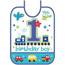 1st BIRTHDAY BOY All Aboard PLASTIC BIB ~ Birthday Party Supplies Favors Blue