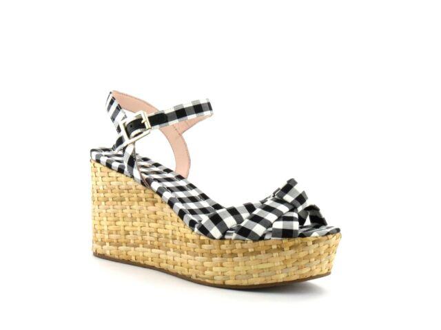 7b437e3078 Kate Spade New York Tilly Wedge Black White Gingham Woven Wicker Sandal 7