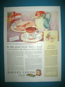 PUBLICITE-BAKER-039-s-COCOA-OPTIMAL-HEALTH-ORIGINAL-VINTAGE-PRINT-AD-1920-039-s