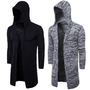 Men's New Trend Thick Cardigan Sweater Jacket Long Hooded ...