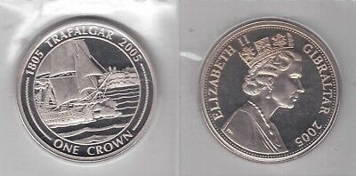 RARE BIMETAL 2 POUNDS UNC COIN 2005 KM#1073 SHIP TRAFALGAR BATTLE GIBRALTAR
