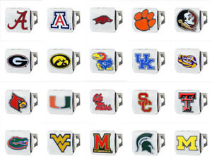 NCAA-College-Colored-Chrome-Hitch-Covers-Heavy-Duty-Metal-43-Teams