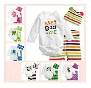 BABY BOY Animal Fun Long Sleeve Bodysuit Romper 3 PIECE SET 6-24 mos Size 0/1/2