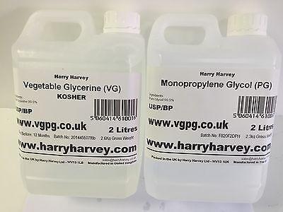 2 Litres Vegetable Glycerine VG  & 2 Litres MPG GLycol PG USP Grade  E-CIG 2L 2