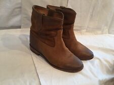 Isabel Marant 37/US 7 Camel Brown Distressed Suede CRISI Hidden Wedge Boots