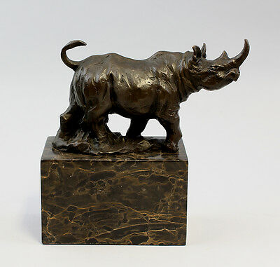 Scultura Bronzo-rinoceronte Su Socket 9937258-dss-
