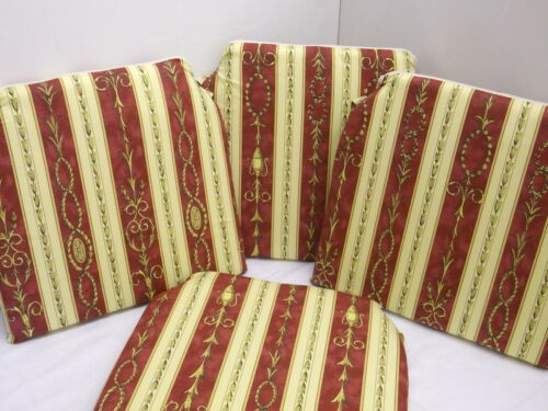 SEAT PADS DINING ROOM KITCHEN GARDEN CHAIR SET OF 4 CUSHIONS WINE//CREAM STRIPE