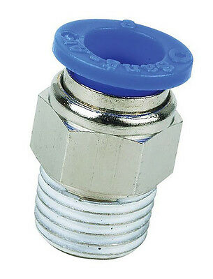 "1/4"" BSP Male to 12mm Straight Push In Fitting, Pneumatic Adaptor 1/4 to 12mm"