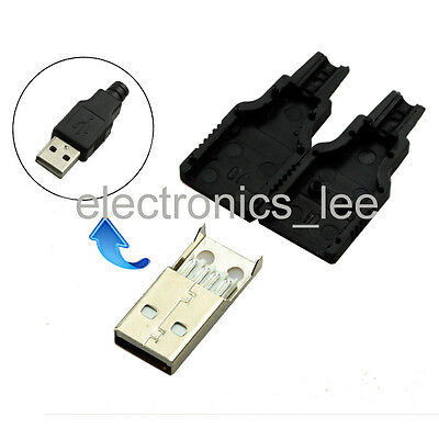 10pcs Type A Male USB 4 Pin Plug Socket Connector&Plastic Cover