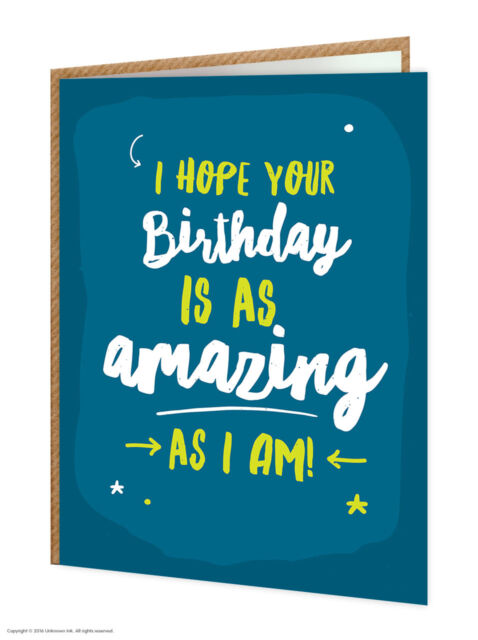Brainbox Candy funny humorous 'Amazing As I Am' birthday greeting card cheeky