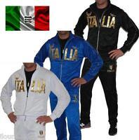 Tracksuit Italia Set With Jacket + Black Jogging White Blue Man Ml Xl Xxl 3xl