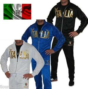 official photos 7264e 0a06f Detalles de TUTA ITALIA COMPLETO CON GIACCA + JOGGING NERO BLU BIANCO UOMO  ML XL XXL 3XL