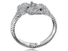 Metal Silver Tone Crystal Rhinestone Animal Elephant Heads Bangle Bracelet Cuff