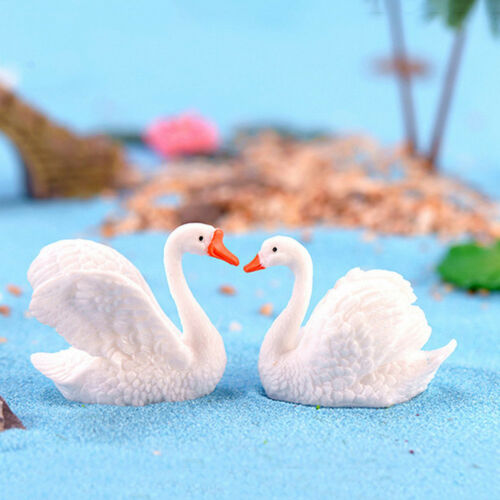 Resin Swan Miniature Figurine Fairy Garden Dollhouse Decor Micro Landscape DZ