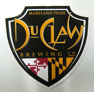 DUCLAW BREWING CO. MARYLAND PRIDE 3 X 3 1//8 Beer chevron STICKER with MD Colors