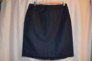 BANANA-REPUBLIC-womens-sz-10-navy-blue-Linen-Cotton-BLEND-pencil-Skirt
