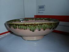 VTG 1950s/1960s GREEN DRIP PINK GLAZED POTTERY PLANTER/CANDY DISH SIGNED SGL USA