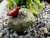 Fossil Rock/ Stone With Cardinal / Miniature Fairy/gnome Garden Miniature 1515