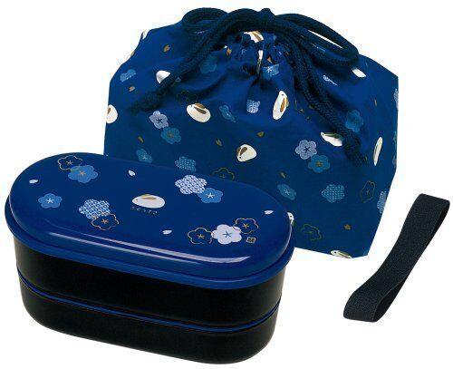 SKATER KSX2 BL Japanese 2-Tier Bento Lunch Box with Belt Bag Chopsticks F//S